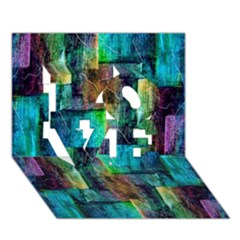 Abstract Square Wall Love 3d Greeting Card (7x5)  by Costasonlineshop