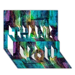 Abstract Square Wall Thank You 3d Greeting Card (7x5)  by Costasonlineshop