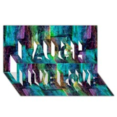 Abstract Square Wall Laugh Live Love 3d Greeting Card (8x4)  by Costasonlineshop