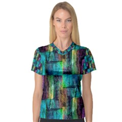 Abstract Square Wall Women s V Neck Sport Mesh Tee by Costasonlineshop