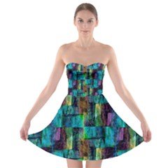 Abstract Square Wall Strapless Bra Top Dress by Costasonlineshop