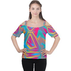 Distorted shapes Women s Cutout Shoulder Tee