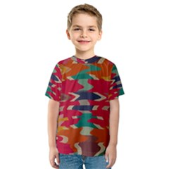 Retro Colors Distorted Shapes Kid s Sport Mesh Tee by LalyLauraFLM
