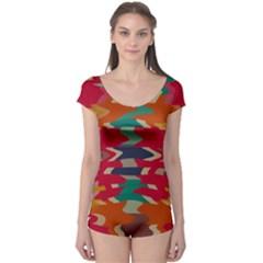 Retro colors distorted shapes Boyleg Leotard (Ladies) by LalyLauraFLM