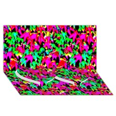 Colorful Leaves Twin Heart Bottom 3d Greeting Card (8x4)