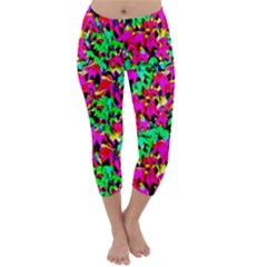 Colorful Leaves Capri Winter Leggings  by Costasonlineshop