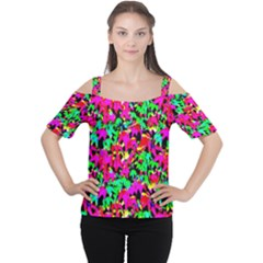 Colorful Leaves Women s Cutout Shoulder Tee by Costasonlineshop