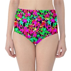 Colorful Leaves High-Waist Bikini Bottoms by Costasonlineshop