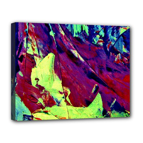 Abstract Painting Blue,yellow,red,green Canvas 14  X 11  by Costasonlineshop