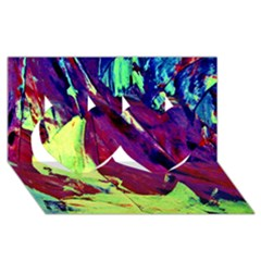 Abstract Painting Blue,yellow,red,green Twin Hearts 3d Greeting Card (8x4)