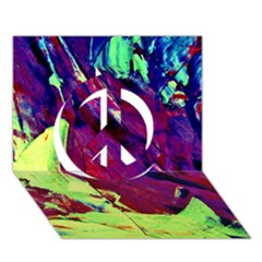 Abstract Painting Blue,yellow,red,green Peace Sign 3d Greeting Card (7x5)