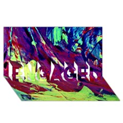 Abstract Painting Blue,yellow,red,green Engaged 3d Greeting Card (8x4)  by Costasonlineshop