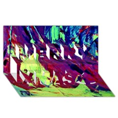 Abstract Painting Blue,yellow,red,green Merry Xmas 3d Greeting Card (8x4)  by Costasonlineshop