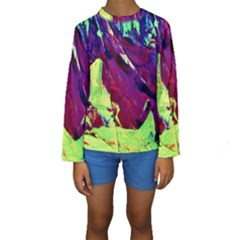 Abstract Painting Blue,yellow,red,green Kid s Long Sleeve Swimwear by Costasonlineshop