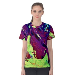 Abstract Painting Blue,Yellow,Red,Green Women s Cotton Tee by Costasonlineshop