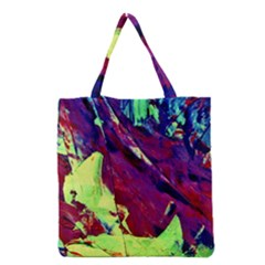 Abstract Painting Blue,yellow,red,green Grocery Tote Bags by Costasonlineshop