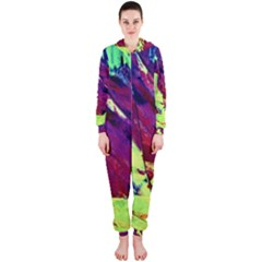 Abstract Painting Blue,Yellow,Red,Green Hooded Jumpsuit (Ladies)  by Costasonlineshop
