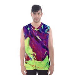 Abstract Painting Blue,yellow,red,green Men s Basketball Tank Top