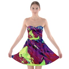 Abstract Painting Blue,yellow,red,green Strapless Bra Top Dress