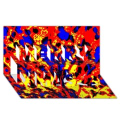 Fire Tree Pop Art Merry Xmas 3d Greeting Card (8x4)