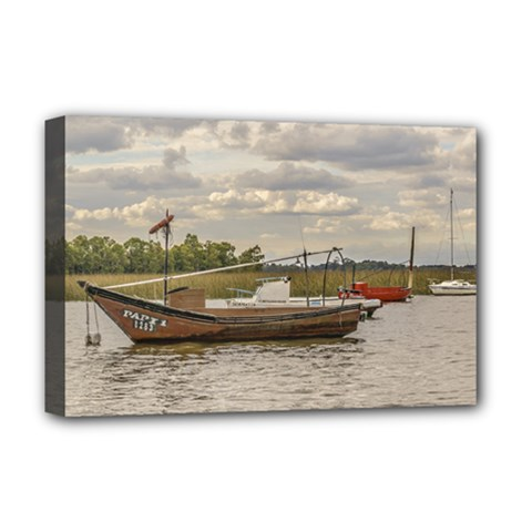 Fishing And Sailboats At Santa Lucia River In Montevideo Deluxe Canvas 18  X 12   by dflcprints