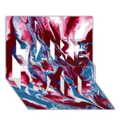 Blue Red White Marble Pattern Take Care 3d Greeting Card (7x5)  by Costasonlineshop
