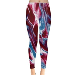 Blue Red White Marble Pattern Women s Leggings by Costasonlineshop