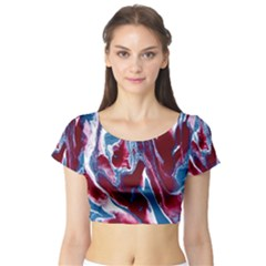 Blue Red White Marble Pattern Short Sleeve Crop Top