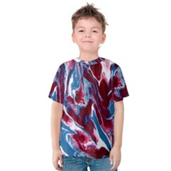 Blue Red White Marble Pattern Kid s Cotton Tee