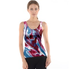 Blue Red White Marble Pattern Tank Top by Costasonlineshop