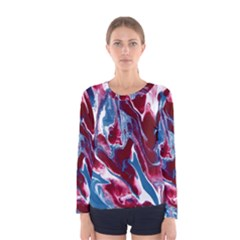 Blue Red White Marble Pattern Women s Long Sleeve T-shirts by Costasonlineshop