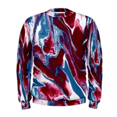 Blue Red White Marble Pattern Men s Sweatshirts by Costasonlineshop