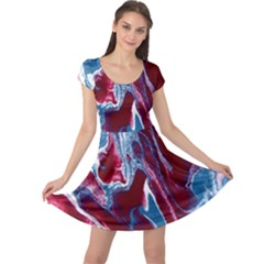 Blue Red White Marble Pattern Cap Sleeve Dresses by Costasonlineshop