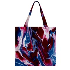 Blue Red White Marble Pattern Zipper Grocery Tote Bags by Costasonlineshop