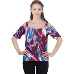 Blue Red White Marble Pattern Women s Cutout Shoulder Tee by Costasonlineshop