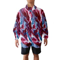 Blue Red White Marble Pattern Wind Breaker (kids) by Costasonlineshop