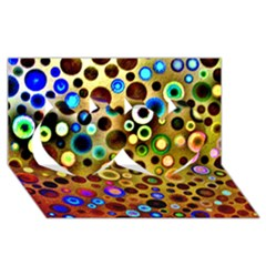 Colourful Circles Pattern Twin Hearts 3d Greeting Card (8x4)  by Costasonlineshop