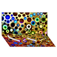 Colourful Circles Pattern Twin Heart Bottom 3d Greeting Card (8x4)