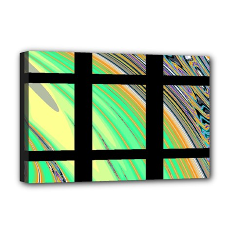 Black Window With Colorful Tiles Deluxe Canvas 18  X 12   by theunrulyartist