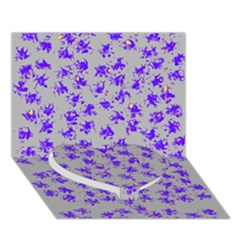 Purple Pattern Heart Bottom 3d Greeting Card (7x5)