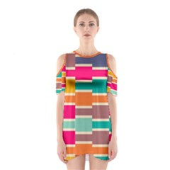 Connected colorful rectangles Women s Cutout Shoulder Dress by LalyLauraFLM