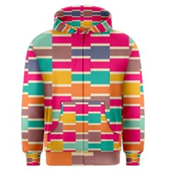 Connected Colorful Rectangles Men s Zipper Hoodie by LalyLauraFLM
