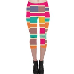 Connected Colorful Rectangles Capri Leggings by LalyLauraFLM
