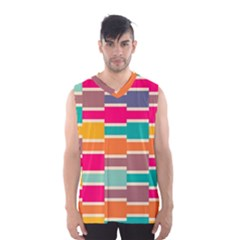 Connected Colorful Rectangles Men s Basketball Tank Top by LalyLauraFLM