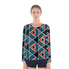 Triangles In Retro Colors Pattern Women Long Sleeve T Shirt by LalyLauraFLM