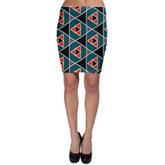 Triangles In Retro Colors Pattern Bodycon Skirt