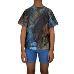 Yellowstone Lower Falls Kid s Short Sleeve Swimwear by trendistuff