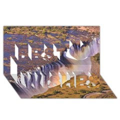 Waterfall Africa Zambia Best Wish 3d Greeting Card (8x4)