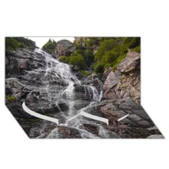 Mountain Waterfall Twin Heart Bottom 3d Greeting Card (8x4)  by trendistuff