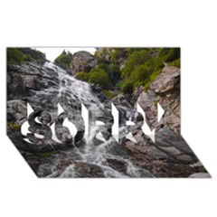 Mountain Waterfall Sorry 3d Greeting Card (8x4)  by trendistuff